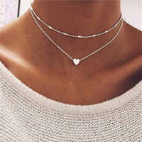 iMucci FASHION JEWELRY Love Heart Adjustable Necklace For Women Multilayer Chain Choker Necklace Summer Gift Drop shipping