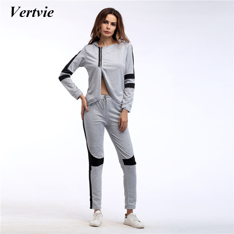 Vertvie Brand Women Patchwork Sports Sets Half-Zipper Yoga Set With Hat Outdoor Solid Long Sleeve Tops+Breathable Leggings Pants