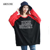 ARCSINX Plus Size Women Sweatshirts 4XL 5XL 6XL 8XL 9XL Loose Patchwork Oversized Women Hoodies Casual