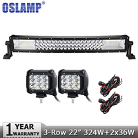 Oslamp 3 Row 22 Curved 324W LED Offroad Light Bar Combo 2pcs 36W Flood Spot Led