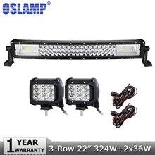 Oslamp 3 ряда 22 «Изогнутые 324 Вт светодиодный свет offroad бар комбо + 2 шт. 36 Вт наводнение пятно светодиодный свет 4×4 грузовик внедорожник ATV UTV 4WD DC12V 24 В