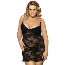 Babydoll Underwear Sleepwear Dress G-string Summer Dress Plus Size 6XL Sexy Sleepwear Women Lace Nightgown Sexy Lingeries