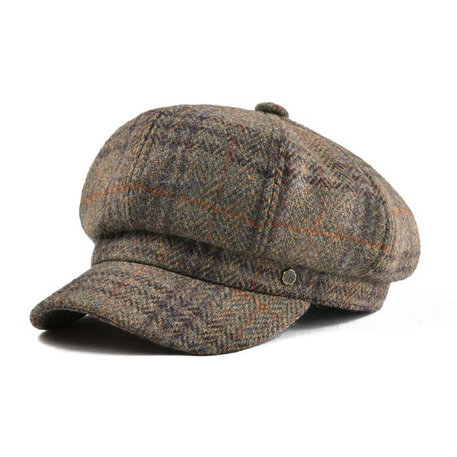 VOBOOM Herringbone Woolen Newsboy Cap Tweed Beret Women Lady Hat Eight Panel  Female Girl Boina Beige Hats 314 2f3d952c281