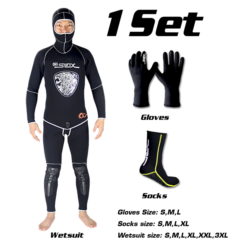 SLINX 5mm Neoprene  Spear Fishing Scuba Diving Fishermen Snorkeling Wetsuit Winter Warm Two-Piece Suit with 3mm Gloves Socks Set spearfishing wetsuit 3mm neoprene scuba diving suit snorkeling suit triathlon waterproof keep warm anti uv fishing surf wetsuits
