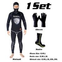 SLINX 5mm Neoprene Spear Fishing Scuba Diving Fishermen Snorkeling Wetsuit Winter Warm Two Piece Suit with 3mm Gloves Socks Set