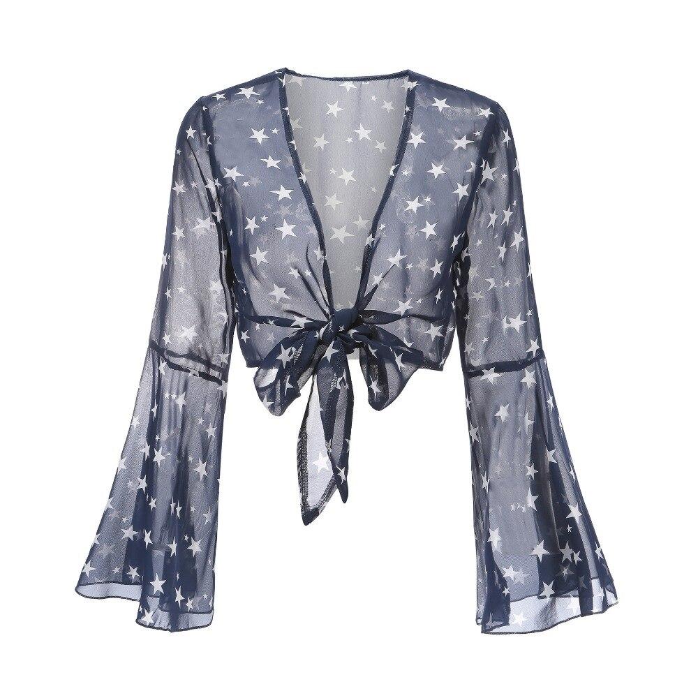 2018 cuello Mujeres Imprimir V Marino Sexy Azul Top Cardigan Nueva Blusa Caliente Deep frqxf8