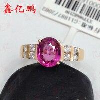 18 k Золотое кольцо из натурального турмалина женское 1,4 карат
