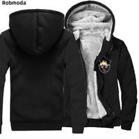 Dragon Ball Z goku Animate Hoodie mens Thicken Fleece Zipper Jacket Super Saiyan Plus velvet winter plus size Warm Sweatshirt