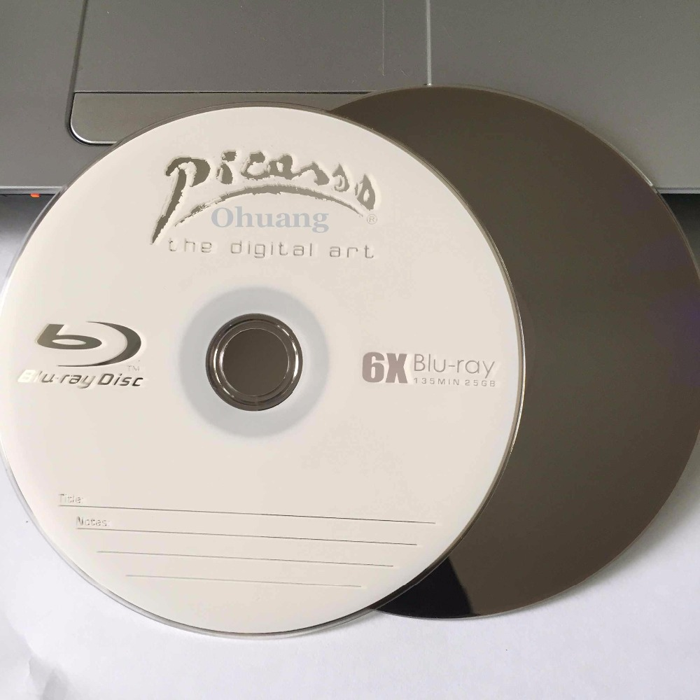 Wholesale 10 discs A+ Picasso 6x 25GB Blank Printed Blu Ray BD-R Disks 1