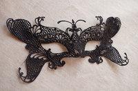 Black Lace Applique For Lace Mask Crochet Lace Mask For Costume Party