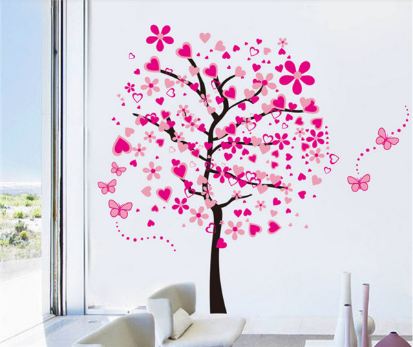 New Arrival DIY Large Wallpaper For Pink Butterfly Flower Tree Living Room  Bedroom Backdrop Home Decor Wall Stickers 60*90cm*2 In Wall Stickers From  Home ... Part 34