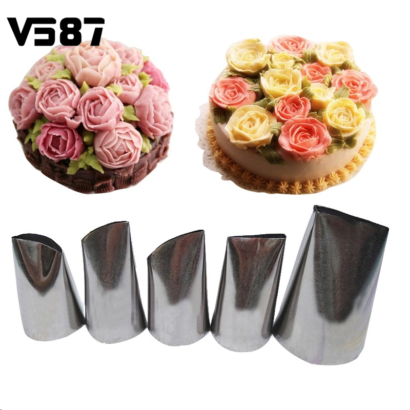 5pcs set cream pastry nozzles stainless steel nozzle set for Kitchen set cake