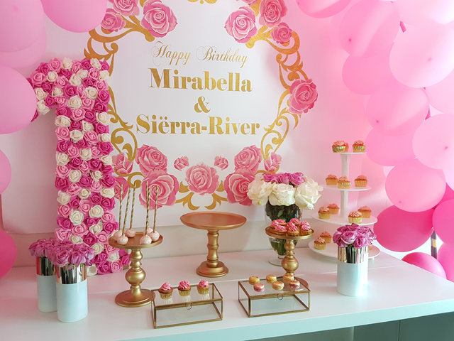 Custom Pink And Gold Floral Birthday Roses Baby Shower Background