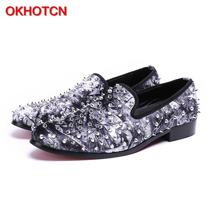 Okhotcn Sapatos Homem Decoração Confortável Lazer Casuais Do De Diário Fresco Genuíno Couro Rebite Personalidade Sliver Graffiti Mocassins 07IZqr0