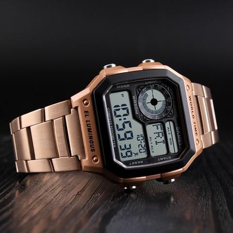 SKMEI Clock Mens Watches Top Brand Luxury Compass Countdown Digital Watches Sports Pedometer Calories Waterproof Men Wristwatch Multan