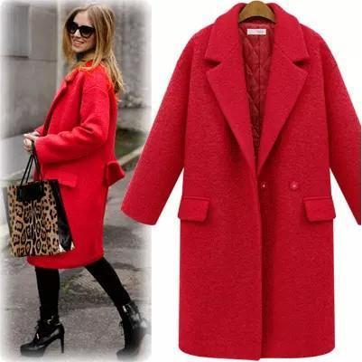 Nuevas Mujeres Abrigo de Lana Con Acolchado Largo Invierno de Lana Peacoats Lana abrigos Rojo Negro Moda Casual caliente Más El tamaño