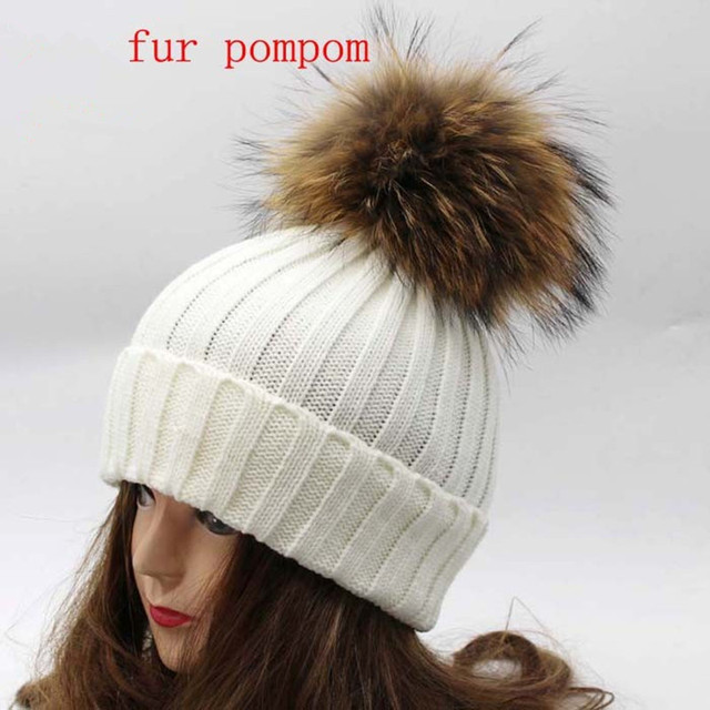 Real  Racoon Fur Pom Pom Winter Hats Wool Knit Winter Bobble hat cap  Beanie Hat With Fur Pompom For Women Gift Skullies Caps