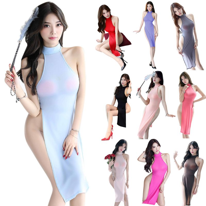 Women Temptation Cheongsam Lingerie Midi Dress High Split Babydoll Nightgown Uniform Halter Backless Solid Cosplay Costume