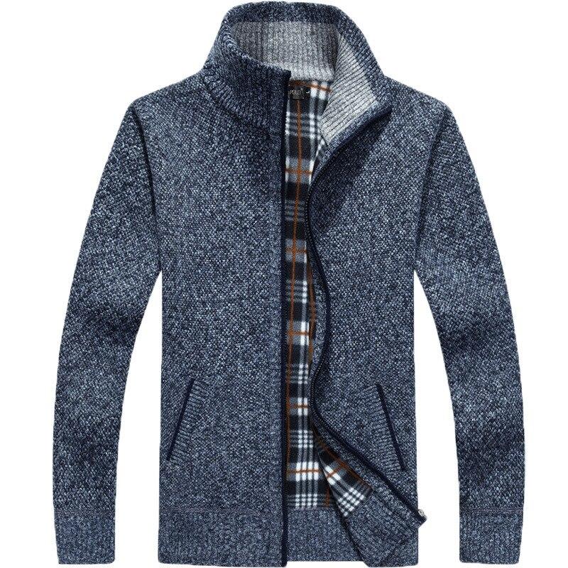2019 New Sweater Men Autumn Winter SweaterCoats Male Thick Faux Fur Wool Mens Sweater Jackets Casual Zipper Knitwear Size M-3XL 3