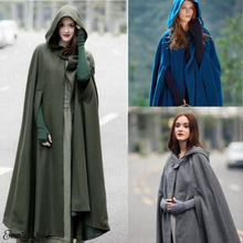 Womens Long Cape Cloak Hooded Wool Blend Coat Sleeveless Win