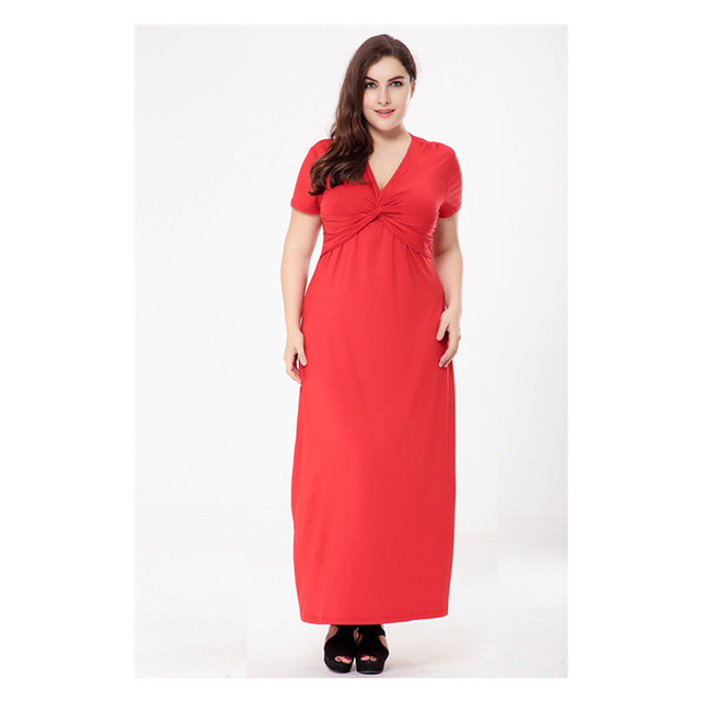 2fd35ab65afbc Summer Women New Design Ladies Large Size 6XL Long Smart Casual Swing Dress  Summer Solid Color Women Dress