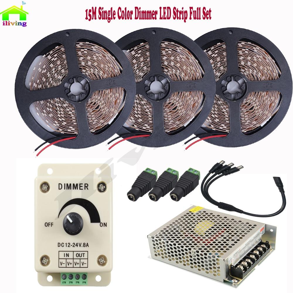 15 M 20 M 30 LED/M 5050 IP LED bande Dimmable lumière bande lampe blanc chaud Diode bande DC12V 8A gradateur 10A alimentation