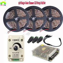 15M 20M 30LED/M 5050 IP LED Tape Dimmable Light Strip Lamp White Warm White Diode Tape DC12V 8A Dimmer 10A Power Supply