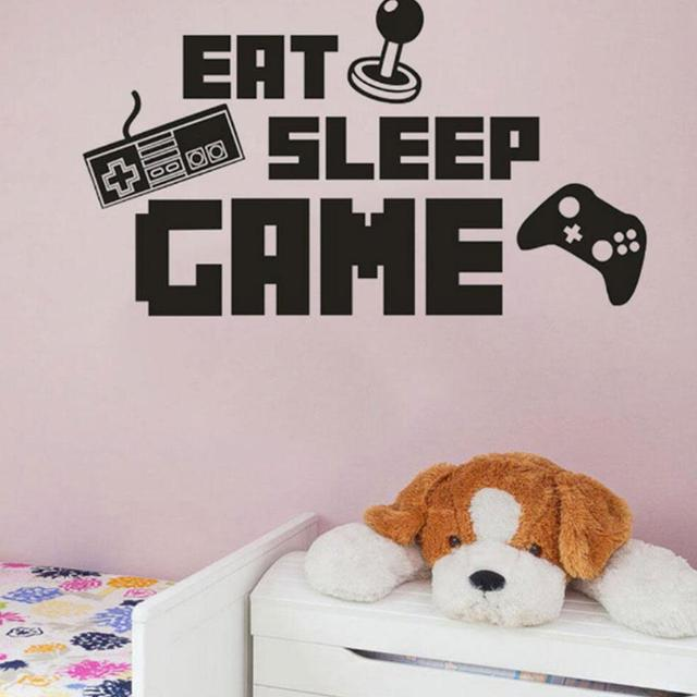 wall sticker eat sleep game poster scratch map bedroom decoration