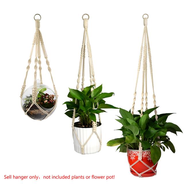 WITUSE Handmade Natural Cotton Cord Plant Hanger Hanging Basket Pot Holder With Ring S/M/L Macrame Rope Flowerpot Holder String