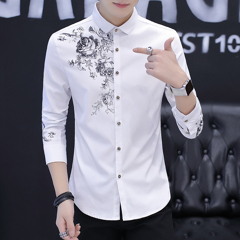 2018 New Men's Long Sleeve Print Shirts Fashion Casual Rose Pattern Shirt Men Size S M L XL 2XL 3XL