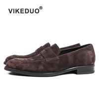VIKEDUO Повседневное лоферы из коровьей замши обувь для Для мужчин круглый носок без шнуровки на фатине Для мужчин обувь плюс Размеры ручной ин