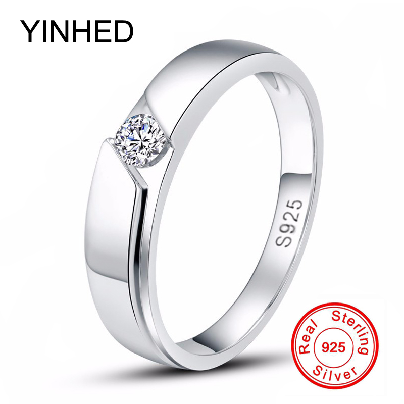 YINHED 100% 925 Sterling Silver Ring Engagement Jewelry 0.5 CT Cubic Zircon CZ Diamant Wedding Rings for Men and Women ZR341 big promotion 100% original 925 silver wedding rings for women natural solitaire 6mm cz diamant engagement rings jewelry rj003
