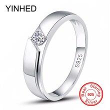 YINHED 100% Стерлингового Серебра 925 Обручальное Кольцо Ювелирные Изделия 0.5 КАРАТ Diamant кубический Циркон CZ Обручальные Кольца для Мужчин и Женщин ZR341