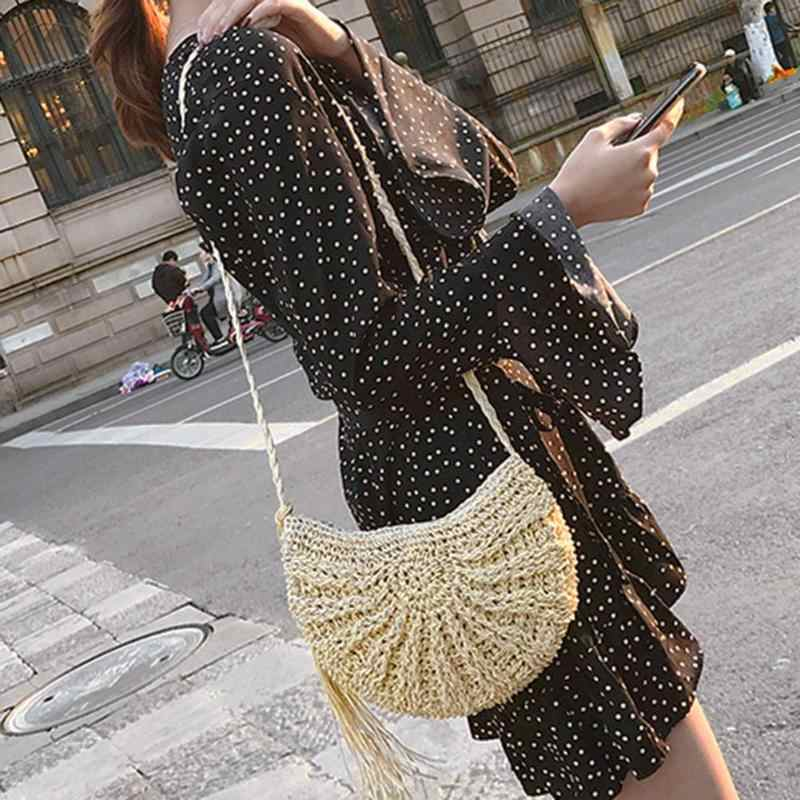 f9601f734 Borlas playa mensajero bolsos mujeres flecos Crochet paja hombro bolsos  hecho a mano día embragues tejido Boho verano