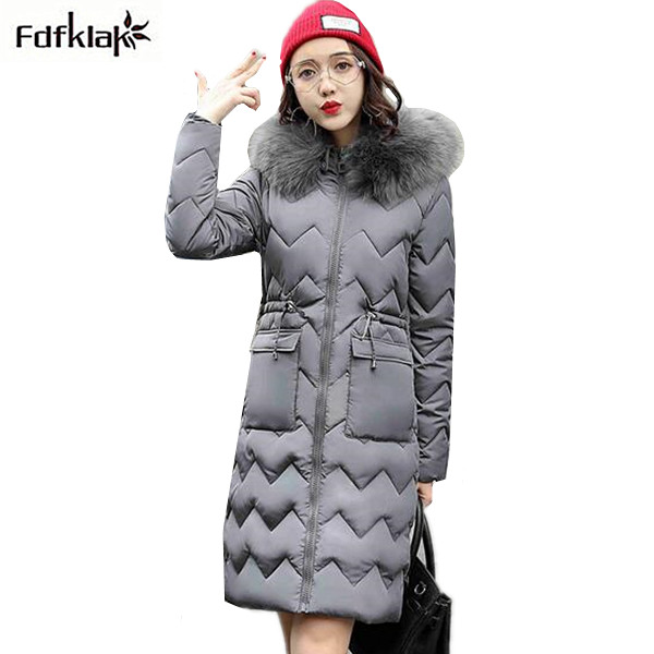 Fashion jackets for women autumn-winter long cotton jacket fur collar parka winter coat female outerwear ladies coats jackets