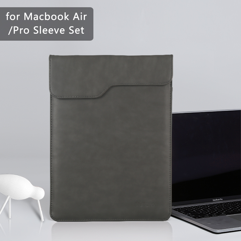 New Laptop bag for macbook air 13 case 13.3 15 inch Laptop Case for macbook pro 13 case Pu Leather Laptop Sleeve for men Solid