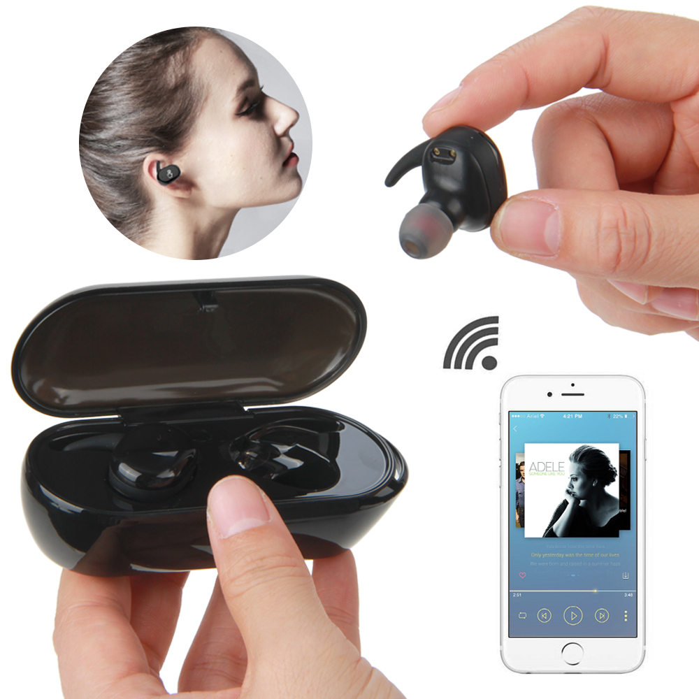 Buy Vapeonly TWS True Wireless Earbuds Micro Earpiece Mini Twins Headset Stereo Ear Bluetooth Earphone Headphones with Charger Box for only 29.99 USD