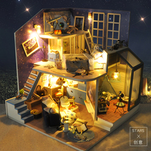 Cute Families House Diy Dollhouse Hut Star Creative Hand-assembled Model Romantic Valentine Birthday Gift Female
