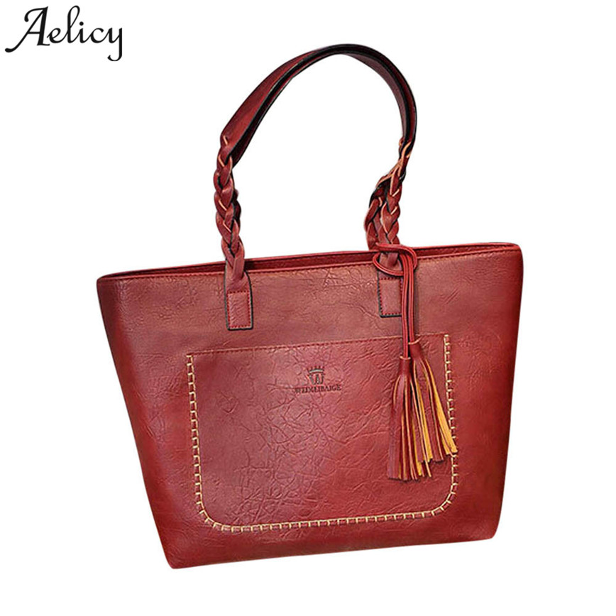 Aelicy Large Capacity Messager Bag Women Famous Designer Vintage PU Leather Totes Bags Shopping Tassel Handbag Female S23