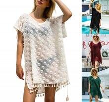 Women Beachwear Swimwear Bikini Beach Wear Cover Up Tassel Summer Dress