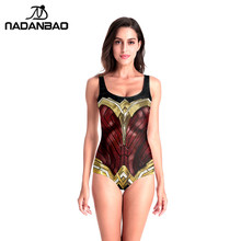 NADANBAO New Arrival Bathing Sleeveless Swimsuit DC Wonder Woman Justice League Cosplay 3D Printed One Piece Swimwear For women