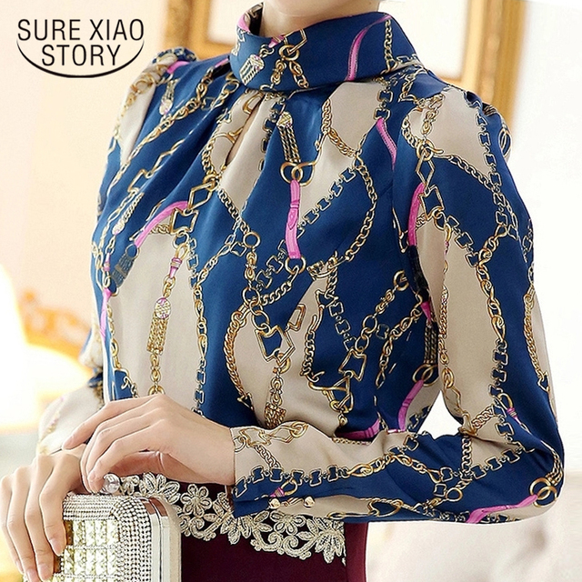 29790aa6de Fashion Woman Blouses 2019 Print Chiffon Blolouse Shirt Blusas Femininas  Office Women Blouses Long Sleeve Women