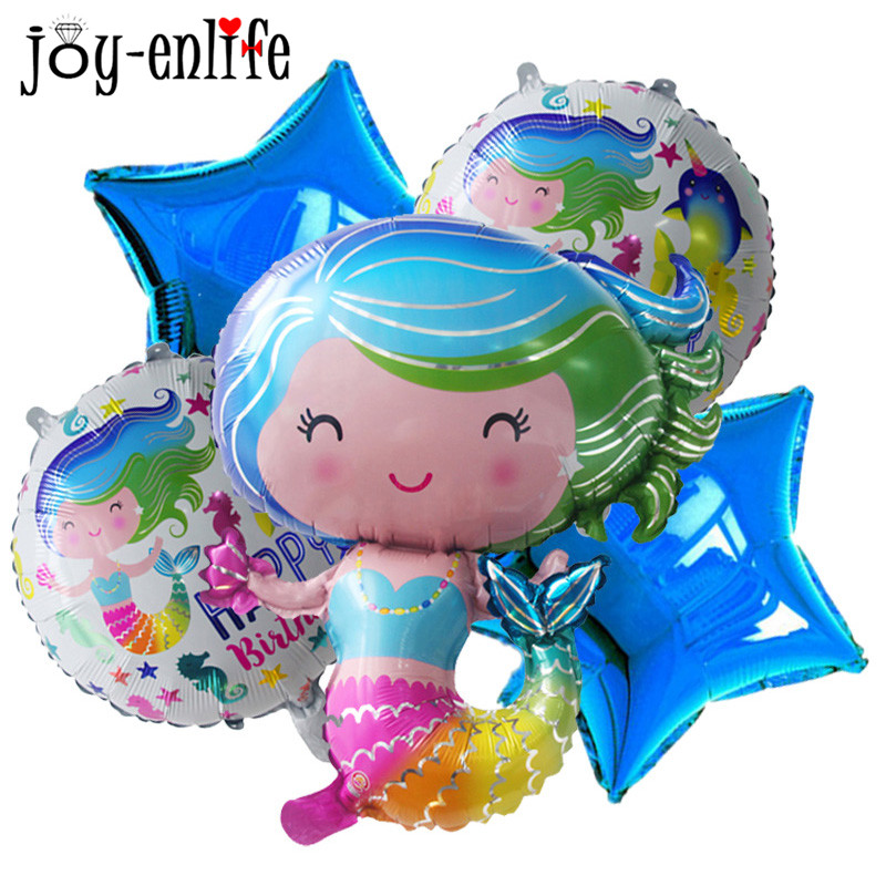 1pcs Cute Mermaids Princess Balloon Girl Happy Birthday Party Foil Balloons Mermaid Them ...