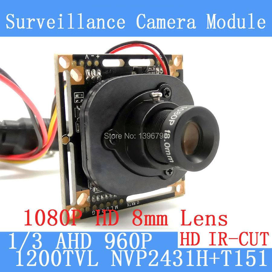1200TVL AHD Camera Module 960P 1.3MP CCTV PCB Main Board NVP2431H+T151 2MP 8mm Lens+ IR Cut surveillance cameras ODS/BNC cable