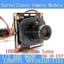 1200TVL AHD Camera Module 960P 1.3MP CCTV PCB Main Board NVP2431H+T151 2MP 8mm Lens+ IR Cut surveillance cameras ODS/BNC cable