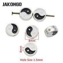 Jakongo prata chapeado esmalte yinyang espaçador contas para fazer jóias pulseira acessórios diy artesanato artesanal 8mm 10 pçs