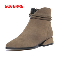 Factory Wholesale 100% Genuine Leather Short Boots Fashion Pointed toe Chain Ankle Boot Short Boots Women's Winter Low Heel Shoe