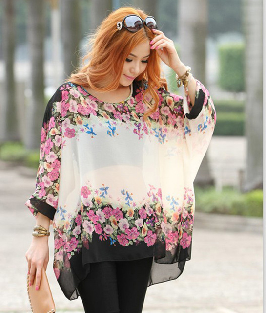 93383015b68 Low price sale women plus size blouses flower printed summer blusas Vogue  ladies designer sheer shirts