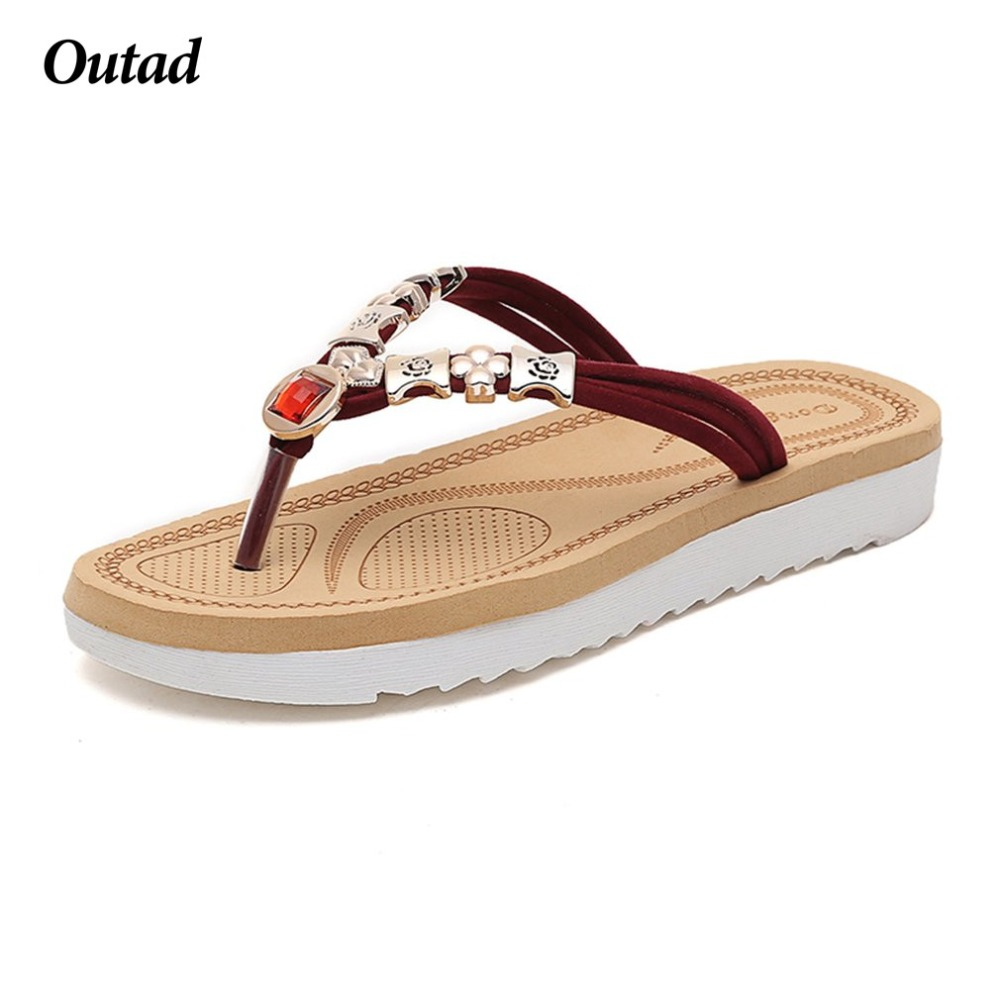 Elegant Ladies Flat Heel Summer Slippers Women Beaded Shining Rhinestone Flip Flops Shoes Fashion And Casual Beach Sandals fashion women s sandals with flip flops and beaded design