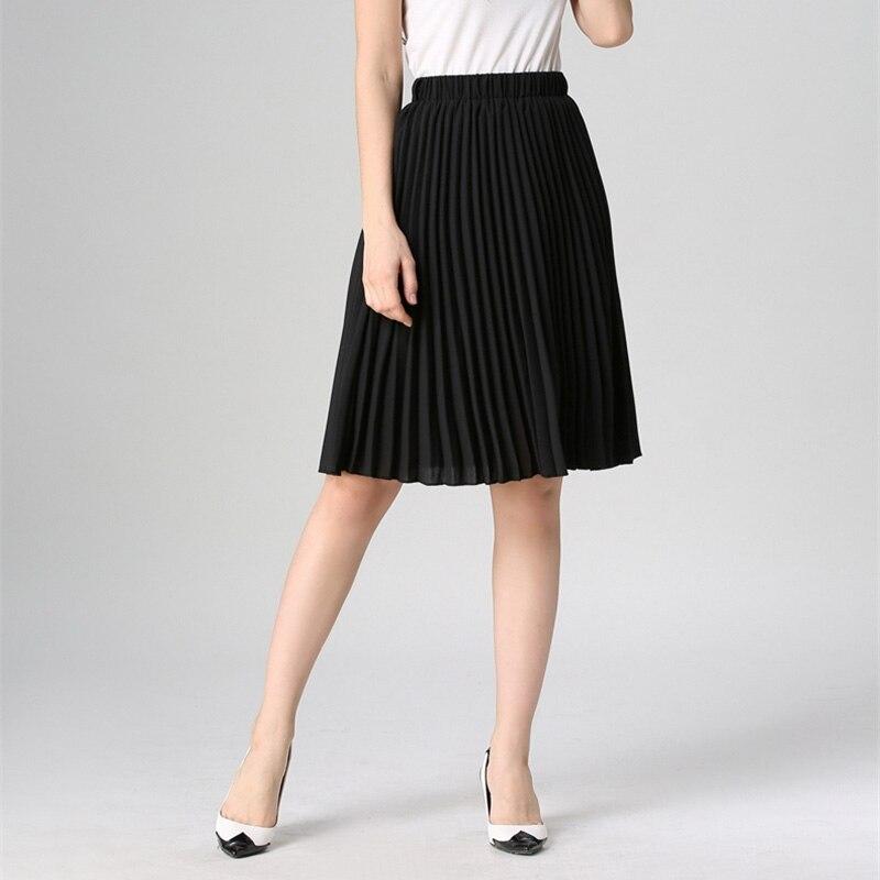 Image 4 - High Waist Pleated Skirt Women Solid Color Chiffon Vintage Knee Length Elastic Waist Skirt Spring Autumn Fashion Pink Skirts